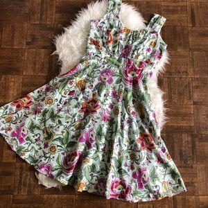 Sundance 4 Sleeveless Fit Flare Dress Floral Silk